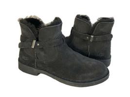 Ugg Elisa Black Suede Shearling Buckle Ankle Boots Us 7 / Eu 38 / Uk 5 - $111.27