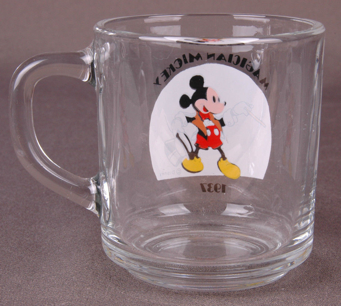 Vtg ANCHOR HOCKING DISNEY-MAGICIAN MICKEY 1937-GLASS MUG-MICKEY MOUSE-Cup-
