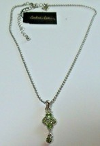 Signed Cookie Lee Silver-tone Green Crystal Pendant Necklace - $16.99