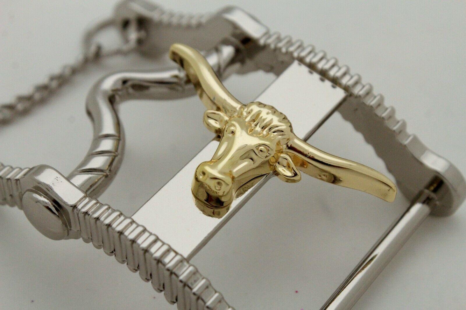 Hombre Casual Cowboy Del Oeste Cinturón Hebilla Metal Plata Cuerno Largo Vaca image 4