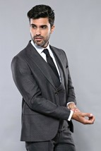 Men Three Piece Vested Suit WESSI by JVALINTIN Extra Slim Fit JV15 Charc... - $99.97