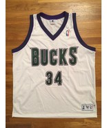 Authentic 1997-98 Milwaukee Bucks Ray Allen Home White Jersey size 54 ch... - $399.99