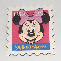 Disney Minnie Mouse W/ Bow Tie Usa 25C Rubber Stamp Refrigerator Freezer Magnet - $11.94