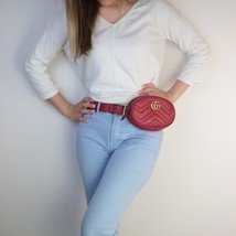 Gucci Red Quilted Leather GG Marmont Waist Belt Bag - $699.00
