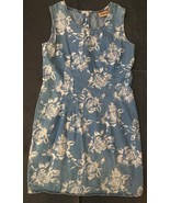 Vtg Floral Denim Jumper Dress Jean Dress Size 8 Rose Flower Button Back Mod - $34.64