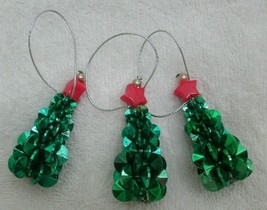 New handmade green bead Christmas tree ornaments - lot of 3 - $6.99
