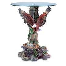 End Table Sculpture, Round Tempered Glass Top Table With Rustic Sculptures - £96.16 GBP