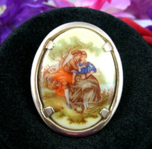 Artist FRAGONARD Courting Couple Flowers Porcelain PIN Vintage Oval Brooch - $12.99