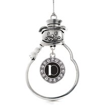 Inspired Silver My Vintage Initials - Letter D Circle Snowman Holiday Christmas  - $14.69
