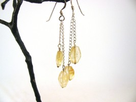 Citrine Dangle Earrings with Sterling Silver RKS533 - $30.00