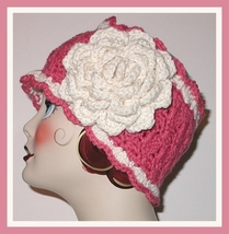 Mauve Ear Warmer Light Cream Rose Flower Headband Old Fashioned Colors - $28.00