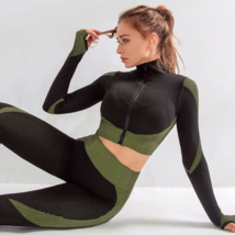 Women's New Crop Tops Leggings Seamless Sportswear High Waist Yoga Suit image 1