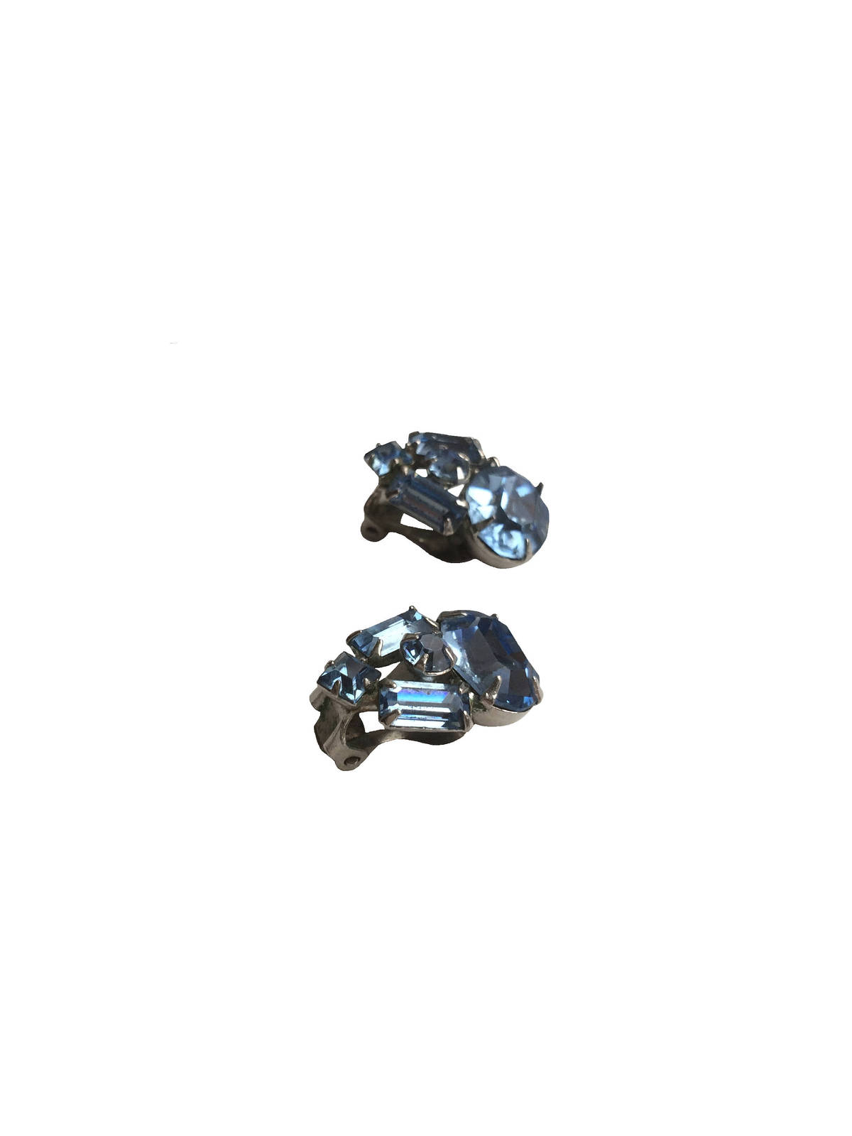"60s 3/4"" Silver Tone Prong Set Blue Crystal Rhinestone Clip On Earrings"