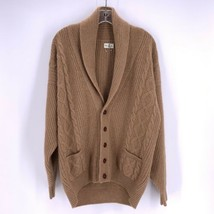 MARK CROSS England Mens Sz M VINTAGE Cardigan Wool Camel Tan Sweater MINT  - $59.35