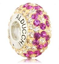Alducchi Melocotón - Rosa Cristal Swarovski Plata 925 Charm Cuenta Europea - $19.95