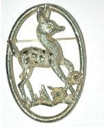 Vintage Deer Bambi animal fawn Pin Brooch gold-tone signed Sarah Cov - $10.00