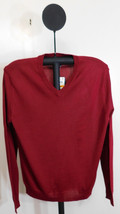 Club Room Men's Sweet Cherry Red Merino Blend V-Neck Classic Fit Sweater... - £13.77 GBP