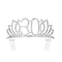 74831c8228a7 DcZeRong Queen 30 Birthday Tiara Women 30th Birthday Crown Silver Rhines...  -  15.73