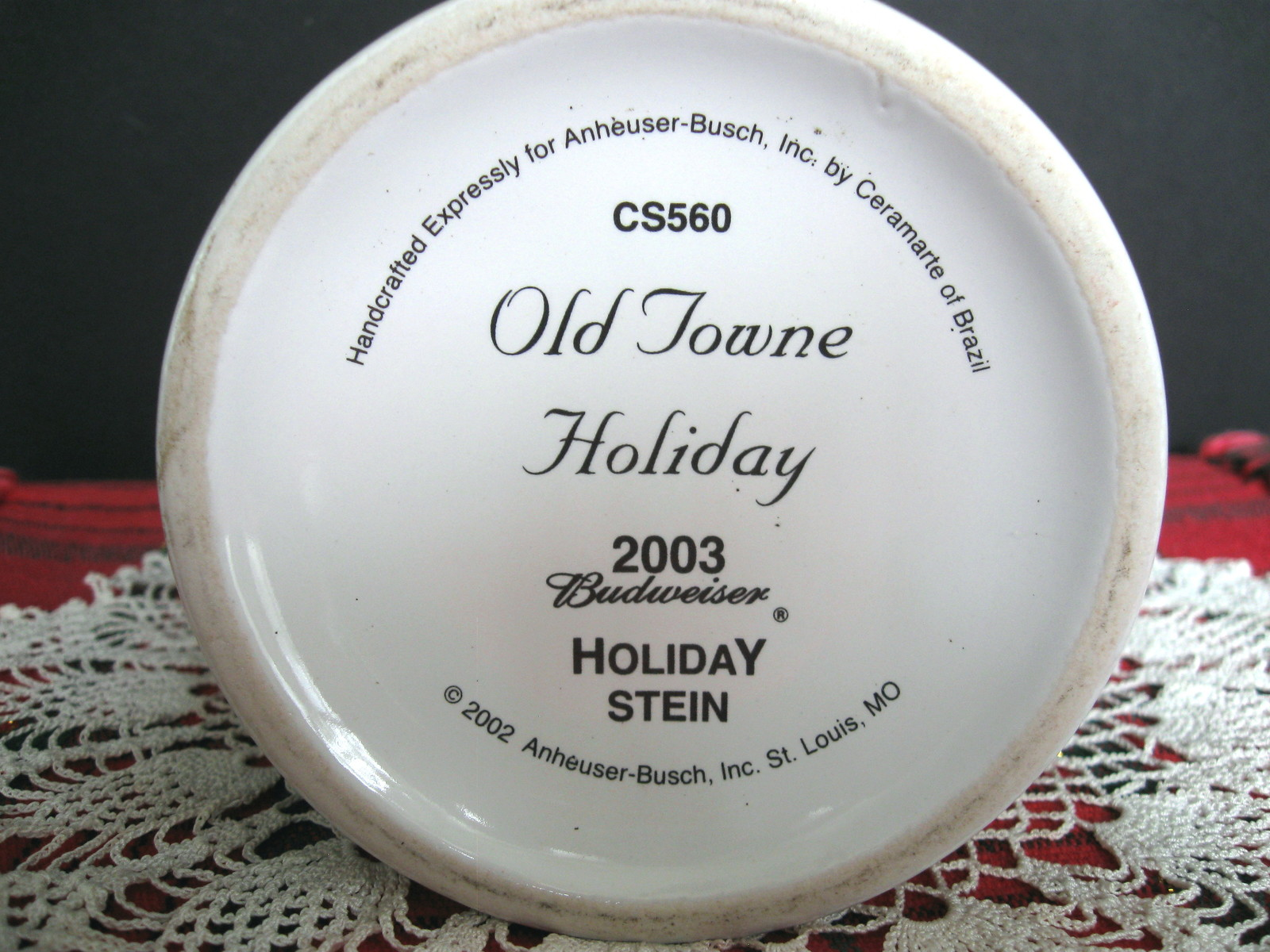 2003 Budweiser Holiday Stein - Old Towne Holiday - No. CS560 - No Box image 9