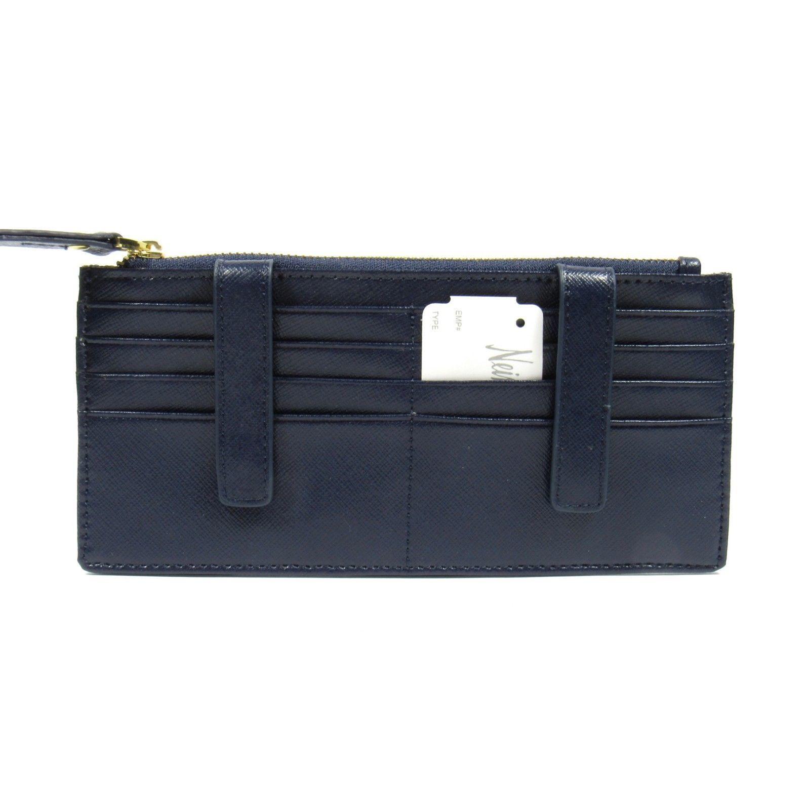Neiman Marcus Women's ID Wallet Organizer Card Case.Saffiano Leather. Navy Blue