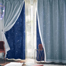 Disney Fantasia Mickey Mouse Starry Sky Double Shade Curtain Blue Wizard - $161.37