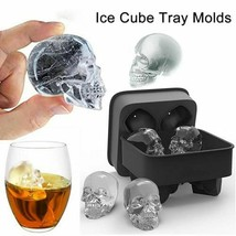 Skull Shape 3D Ice Cube Mold Maker Bar Party Silicone Trays Chocolate Mo... - $9.94