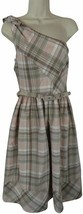 NWT NEW $128 Oleg Cassini Lord & Taylor 12 dress pink brown plaid one shoulder - $34.64