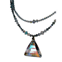 AB Crystal Pyramid Drop Double Strand Necklace image 1