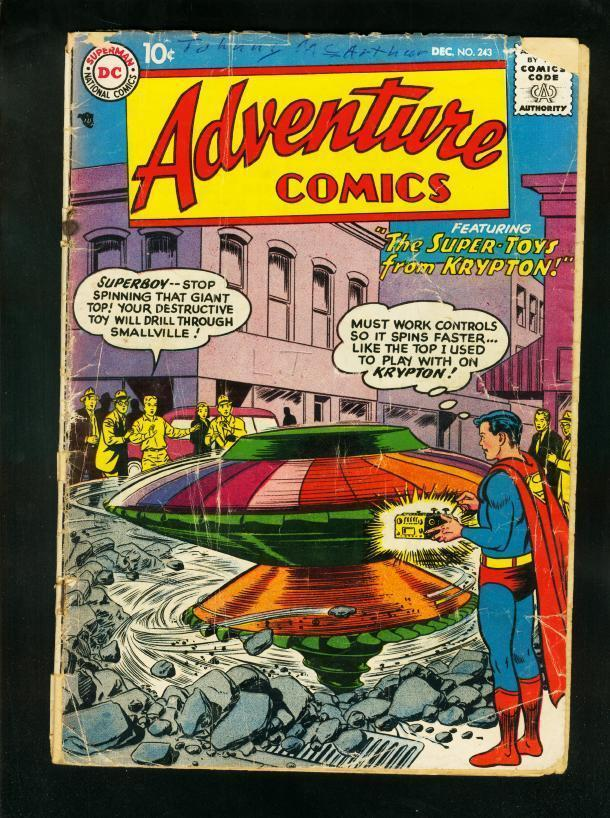ADVENTURE #243 1957-SUPERBOY-GREEN ARROW-AQUAMAN-DC COMICS-bargain copy FR