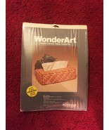 Vintage 70s WonderArt Plastic Canvas Tissue Cover Kit #6003 - by Needlec... - $18.00