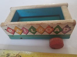 Railroad Car Cart Fisher Price Pull Toy USA Wooden Vintage parts no 152 - $4.99
