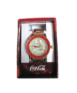 Coca-Cola  Accutime Red Crystal Bevel Watch 42 mm Gold-tone- BRAND NEW - $23.76