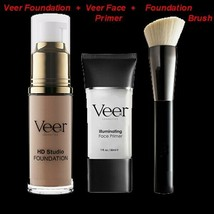 NEW VEER ILLUMINATING FACE PRIMER+HD Studio FOUNDATION+BRUSH+GIFT Mediu... - $49.95