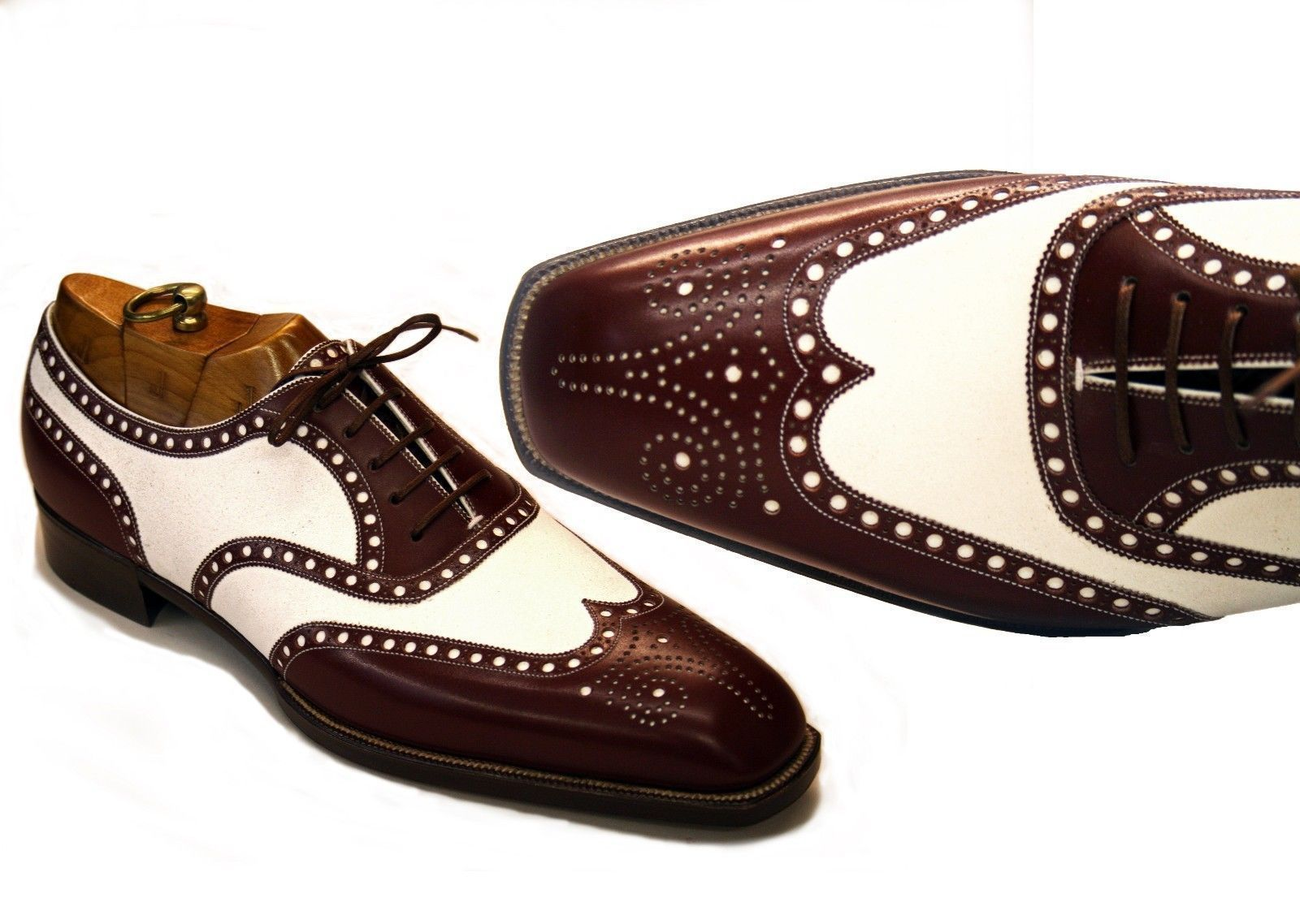 Handmade Men's Brown & White Wing Tip Heart Medallion Oxford Leather Shoes