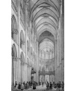 FRANCE Interior of Rouen Cathedral - SUPERB 1843 Antique Print - $30.60