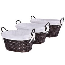 Set Of 3 Oval Hand-Woven Willow Wicker Storage Basket - £28.14 GBP