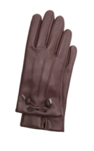 COACH Leather Merino Wool Gloves Tea Rose Bow Oxblood Brown Womens 8 F20887