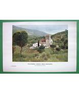 SPAIN Vallvidrera Church near Barcelona - 1907 Old Print COLOR - $9.00