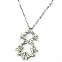 18K WHITE GOLD NECKLACE, BABY, CHILD, GIRL, DAUGHTER PENDANT DIAMONDS ROLO CHAIN image 2