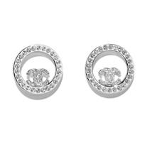 BRAND NEW Authentic Chanel CC Circle Logo Crystal Strass Silver Stud Earrings  - $529.99