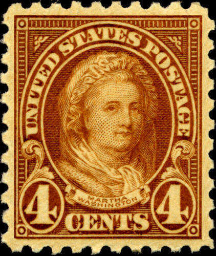1925 4c Martha Washington, Yellow Brown Scott 585 Mint F/VF NH