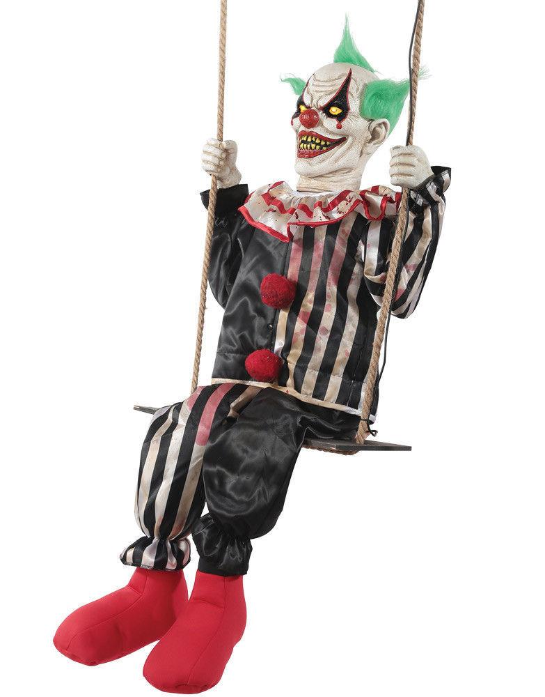 Swinging Chuckles Animated Prop Creepy Clown Halloween Decoration NEW