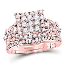 14kt Rose Gold Round Diamond Vintage-inspired Bridal Wedding Ring Set 1-1/4 Ctw - $1,423.82