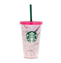 Starbucks Pink Paint Swirl Heart Valentine Day Love Acrylic Cup Tumbler 16 oz - $48.50