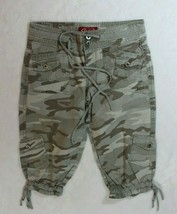 BeBop Girls Capri Pants Size 10 Green Camouflage Cargo Drawstrings Casual Summer - $21.77