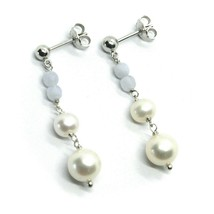 18K WHITE GOLD PENDANT EARRINGS, WITH FW PEARLS AND CHALCEDONY image 2