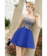 Gold Lace Prom Dresses Royal Blue Short Cocktail Dress Girls Short Party... - $113.00