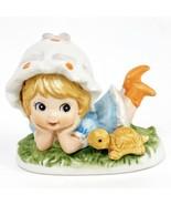 Lefton Girl with Bonnet and Turtle Ceramic Bisque Figurine Vintage 00869 - $17.33