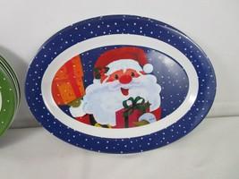 "Set of 10 Melamine Ware Oval Holiday Platter Plates 14""X10"" Santa Snowmen - $5.70"