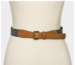 Universal Thread Women's Woven Boho Belt Black White Khaki Faux Leather ... - $15.81